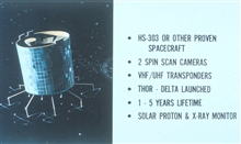 Conceptual diagram of ATS, the Applications Technology Satellite series.  Thesesatellites were forerunners of the GOES satellite system.