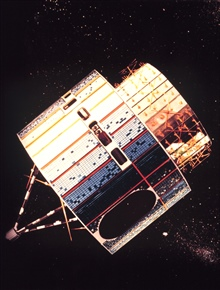 Graphic of the Synchronous Meteorological Satellite, the forerunner of the GOESsatellites.
