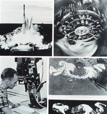 TIROS I images of North Pacific storm system on May 19-20, 1960.  TIROS I launchon upper left; TIROS I satellite on upper right; processing images on lower left