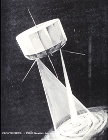 Artist's conception of TIROS meteorological satellite system showing field ofview of wide-angle and narrow-angle cameras on Earth's surface.  Graphic in:Operational Use of Weather Satellites, U. S. Navy Research Facility, Norfolk,Virginia, March 1960