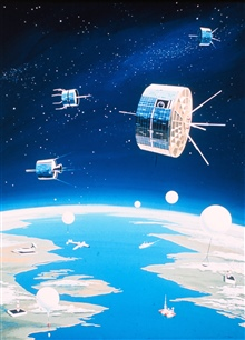 An artist's conception of a fully integrated environmental monitoring systemincluding satellites, balloons, ships, aircraft, buoys, and data reception andprocessing facilities.