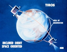 Graphic showing space-oriented TIROS satellite.  Illustrates that camerapointing into space half of time.