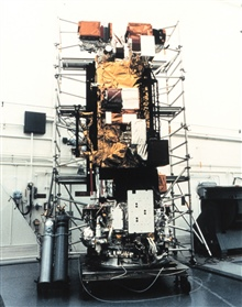 Meteorological satellite NOAA K being readied for launch.