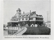 Residence and Fisheries Bureau Headquarters at Woods Hole.In: The Boy with the U.S. Fisheries, by Francis Rolt-Wheeler, 1912.  Boston,Lothrop, Lee & Shepard Co. P. 336