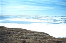 Looking over arm of the Beaufort Sea before the pack ice breaks upOliktok Point Camp in distance in photo center