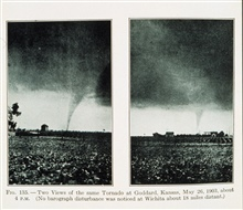 Two views of the same tornado at Goddard, KansasMay 26, 1903Figure 135 of Meteorology by Willis Milham, 1912