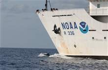 Obtaining tissue sample with cross-bow fired dart from bow of NOAA ShipGordon Gunter.