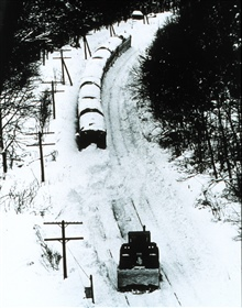 Even trains are stopped by heavy snows.