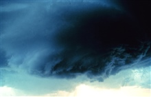 Circular base of a rotating wall cloud.