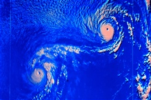 Typhoons Ione and Kristen displaying Fujiwhara effect