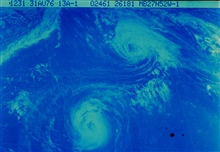 Hurricanes Emmy and Frances displaying Fujiwhara effect