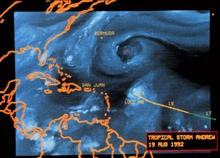 Hurricane Andrew - water vapor satellite image by METEOSAT 3August 19, 1992 image also shows upper level low to the north of Andrew
