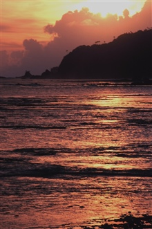 Sunset along the shores of American Samoa