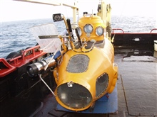 Delta Submersible preparing for an 85-meter depth dive at Latitude 37 59 N.,Longitude 123 26 W.