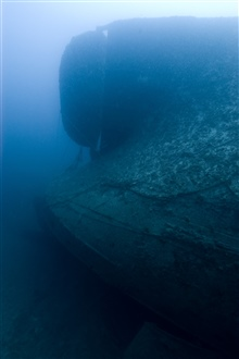 Upside-down rudder of the NORTHERN LIGHT, a shipwreck in 190 feet waterdepth.  The NORTHERN LIGHT sank in 1930.  It had been a Great Lakes freighterbut had been converted to a barge in 1927.