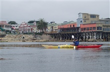 Kayaking off Cannery Row on the Monterey waterfront.