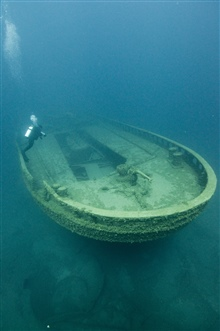 The stern of the Grecian, sunk in 1906.