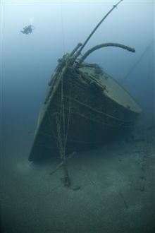 Bow of the NORMAN, a 296-foot bulk carrier.  Sunk in collision with theCanadian steamer Jack on May 30, 1895.