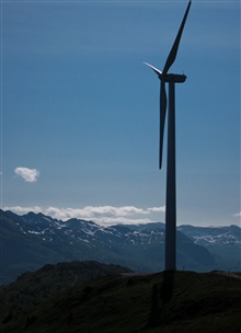 Windmill on ridge above Kodiak.
