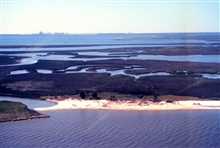 Grand Bay National Estuarine Research Reserve.West from Middle Bay along MS/AL state line showing large Indianshell midden, juncus marsh, shallow bayous, Point aux Chenes Bay, and the Chevron oil refinery.  LSU aerial shoreline survey of October 1998