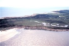 Grand Bay National Estuarine Research Reserve.Southwest from Grand Bay, AL/MS state line along foreground shoreline of Rigolets.  LSU aerial shoreline survey of October 1998.