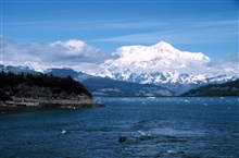 Photo #6 of Mount St. Elias sequence.Mount Saint Elias is one of the largest mountains visible from the sea on theNorth American continent.  It rises to a height of 18,008 feet in a distance ofless than 20 miles from sea level at Icy Bay.