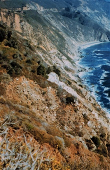 Looking over the edge from Highway 1 along the Big Sur coastline.