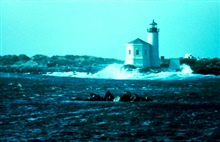 The lighthouse at Coquille River Entrance.