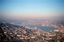 Lake Union from the Space Needle.  NOAA ships in port mooredat Pacific Marine Center.