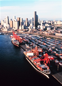 The containership piers at Seattle