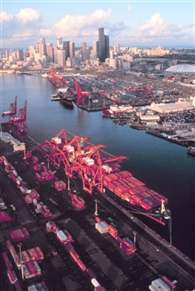 Containership piers in Seattle.  Note Coast Guard piers in right center ofpicture.