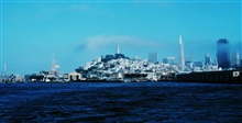 A view of the San Francisco waterfront with Transamerica Pyramid andCoit Tower.