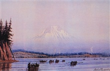 Mount Rainier as seen by Cleveland Rockwell in the 1880's.  Image is providedcourtesy of Jo and Len Braarud, LaConner WA.  For more information see: http:// www.braarudfineart.com