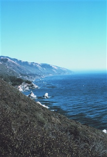 The Big Sur coastline as seen while traveling along Highway 1