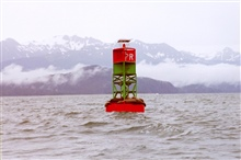 Sea lions find a resting place on a buoy in the labyrinth of Southeast Alaskawaterways.