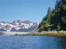 Rocky shoreline, a glacier coming to the sea, and high mountain peaks.  HoggBay has it all.