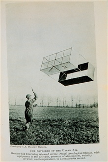 Exploring the upper air with a weather box kiteKite released at Drexel Aerological StationContinuously read temperature, wind velocity, pressure, altitude, and timeIn: The Boy with the U.S. Weather Men, 1917, p. 172.