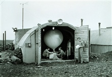 Army Air Force meteorologists prepare to launch hydrogen-filled balloonBalloon transported radiosonde that transmitted back to stationRadiosonde measured temperature, humidity, and pressureThis instrument was used up until just before the end of WWII