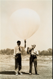 Early launch of radiosonde developed by U.S. Bureau of StandardsLaunch preparations at Washington Airport blimp hangar