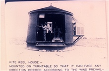 The kite houses were mounted on turntablesThis allowed turning with wind to facilitate kite launching