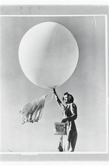 Launching a pilot balloonWomen's first opportunities in meteorology occurred as a result of WWII