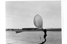 Launching a pilot balloon during strong winds at St. Louis AirportWomen's first opportunities in meteorology occurred as a result of WWII