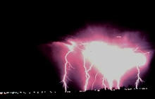 Intense cloud-to-ground lightningCaught using time-lapse photography during a night-time thunderstorm.
