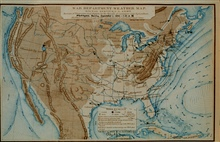 An early Signal Service weather map on record in NOAA Library -September 1, 1872Careful compilation and study of these maps led to scientific forecasting.In: Daily Bulletin of Weather-Reports ... for the Month of September, 1872
