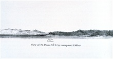 Point Pinos and the Point Pinos Lighthouse as seen from offshore.  This is atthe southern extent of Monterey Bay.In:  Pacific Coast.  Coast Pilot of California, Oregon, and Washington Territory.  By George Davidson, 1869.  P. 45.  Library Call Number