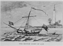 The Boston Light of 1716. In:Lighthouses and Lightships of the United States by George R. Putnam, p. 6, 1917.  Houghton Mifflin and Company, Boston. Library Call No. 527.7 P98.