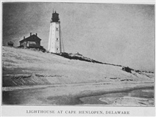 Lighthouse at Cape Henlopen, Delaware. In:Lighthouses and Lightships of the United States by George R. Putnam, p. 14, 1917.  Houghton Mifflin and Company, Boston. Library Call No. 527.7 P98.