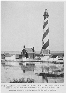The Tallest Lighthouse Tower of this Country, 193 Feet High; TheCape Hatteras Lighthouse, North Carolina. The spiral painting is to furnish adistinctive day mark to mariners.  In:Lighthouses and Lightships of the United States by George R. Putnam, p.