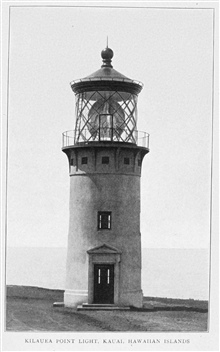 Kilauea Point Light, Kauai, Hawaiian Islands. In:Lighthouses and Lightships of the United States by George R. Putnam, p. 170, 1917.  Houghton Mifflin and Company, Boston.Library Call No. 527.7 P98.