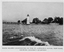 Rock Island Lighthouse on the St. Lawrence River, New York, Showing the Keeper's Quarters.  In: Lighthouses and Lightships of the United States by GeorgeR. Putnam,  p. 250,  1917.  Houghton Mifflin and Company, Boston.Library Call No. 527.7 P98.